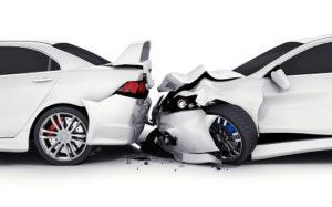 Two white car crash